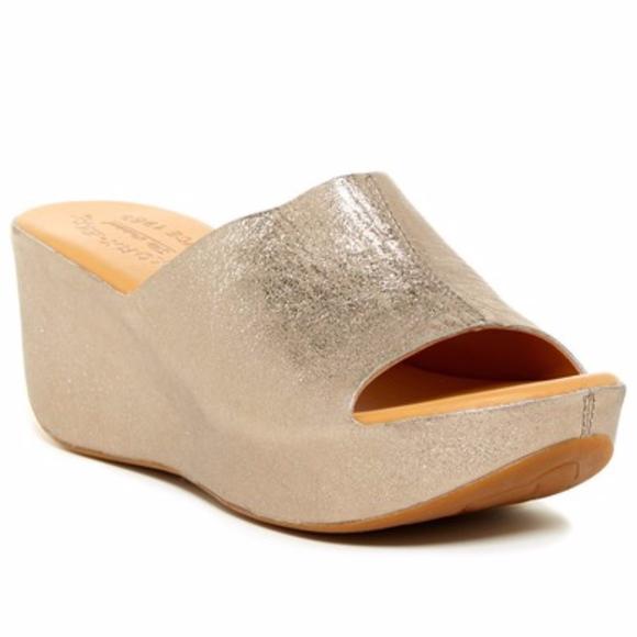 Korkease Gold Greer Wedge Sandal Size
